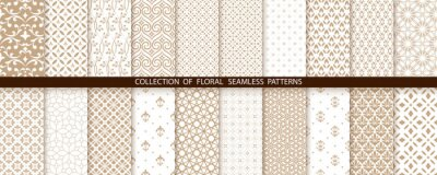 Naklejka Geometric floral set of seamless patterns. Gold and white vector backgrounds. Simple illustrations
