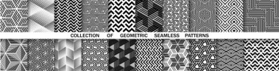 Naklejka Geometric set of seamless black and white patterns. Simple vector graphics