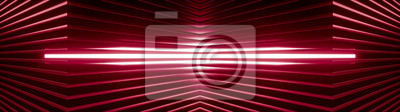 Naklejka Geometric super wide background made of many red metal shelves with glowing light behind. Abstract symmetric industrial structure. 3d rendering