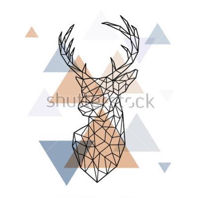 Naklejka Geometryczna głowa skandynawskiego jelenia. Styl wielokąta. Skandynawski styl.