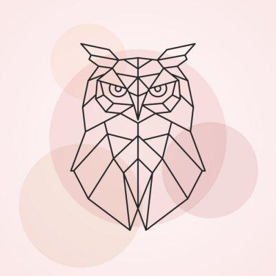 Naklejka Geometryczna głowa sowa. Abstrakcjonistyczna wektorowa ilustracja dziki ptak.