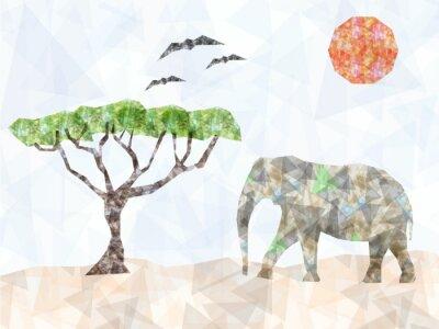 Naklejka Geometryczne trójkąty słonia z drzewa
