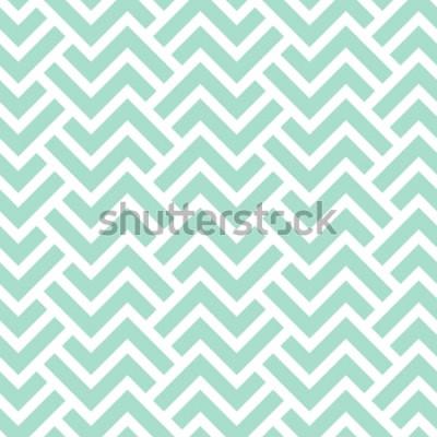 Naklejka Geometryczny wzór w paski. Bezszwowe tło wektor. Zielona i biała tekstura. Nowoczesny wzór graficzny.