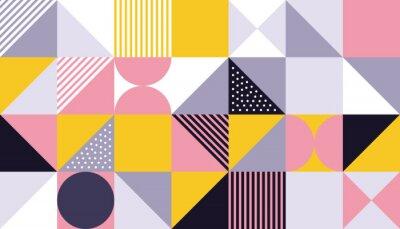 Naklejka Geometryczny wzór wektor Skandynawski abstrakcyjny kolor lub szwajcarska geometria drukuje tło z prostokątami, kwadratami i okręgami