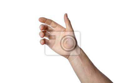 Naklejka gesture of the hand for holding smartphone or bottle