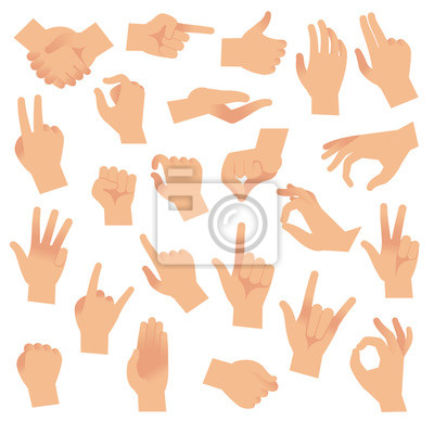 Naklejka Gesturing hands. Hand with counting gestures, forefinger sign. Open arm showing signal, interactive communication vector set