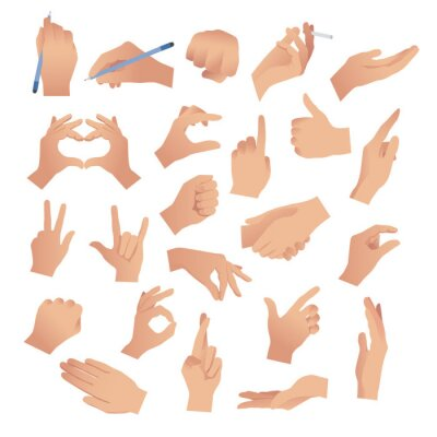 Naklejka Gesturing. Set of hands in different gestures , hand showing signal or sign collection, on white background isolated vector illustration