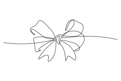 Naklejka Gift ribbon bow in continuous line art drawing style. Minimalist black linear sketch isolated on white background. Vector illustration