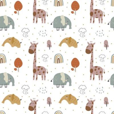 Naklejka giraffe and  elephant baby cute seamless pattern