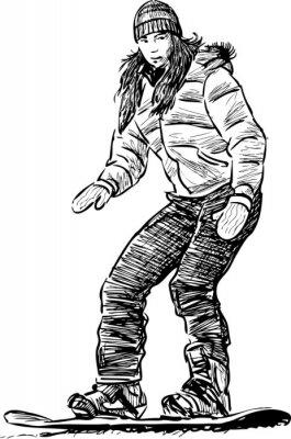 Naklejka Girl on a snowboard