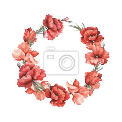 Naklejka Girlanda z kwiatami. Ręka narysować akwarela ilustracja.