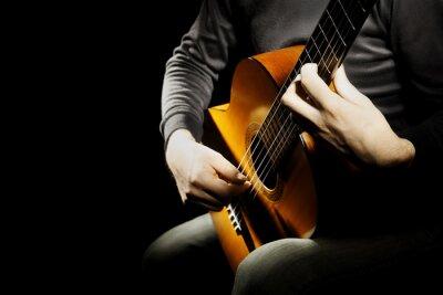 Naklejka gitara akustyczna gitarzysta klasyczny ręce