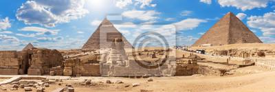 Naklejka Giza Pyramids and the Sphinx, beautiful Egyptian panorama