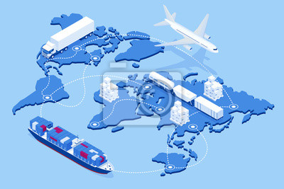 Naklejka Global logistics network Flat 3d isometric vector illustration Icons set of air cargo trucking rail transportation maritime shipping On-time delivery Vehicles designed to carry large numbers of cargo
