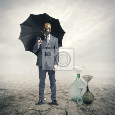 Global Warming: Biznesmen oczekiwanie na deszczu