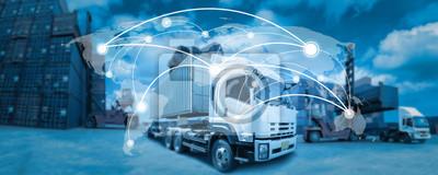 Naklejka Globalna sieć map zasięgu światowym, Ciężarówka z Przemysłowej Cargo Container Logistic dla Import Export w zagrodzie (Elementy tego zdjęcia dostarczone przez NASA)
