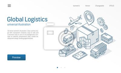 Naklejka Globalna usługa logistyczna nowoczesna ilustracja linii izometryczny. Eksport, import, biznes magazynowy, ikony szkicu transportu. 3d tło wektor. Pudełko do przechowywania, dystrybucja, koncepcja dost