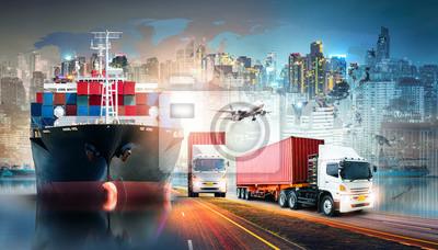 Naklejka Globalny biznesowy logistyka import eksportuje tła i zbiornika ładunku frachtowego statku transportu pojęcie