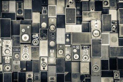 Naklejka Głośniki Muzyka na ścianie w monochromatycznym stylu vintage