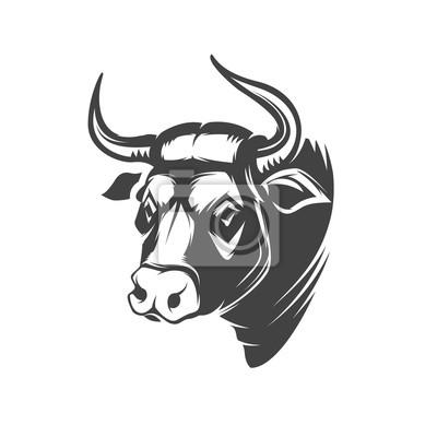 Głowa byka symbolem wyizolowanych na białym tle.
