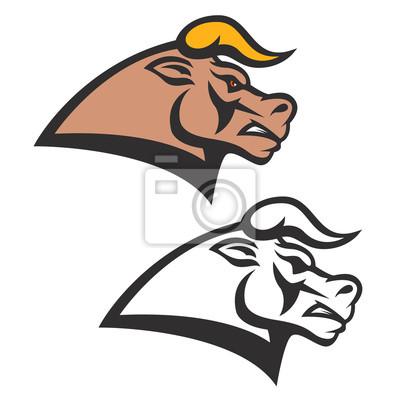 Głowa byka symbolem wyizolowanych na białym tle. Design element fo