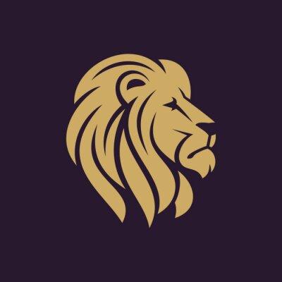 Naklejka Głowa lwa logo lub ikony w jednym kolorze. ilustracji wektorowych Zdjęcie.