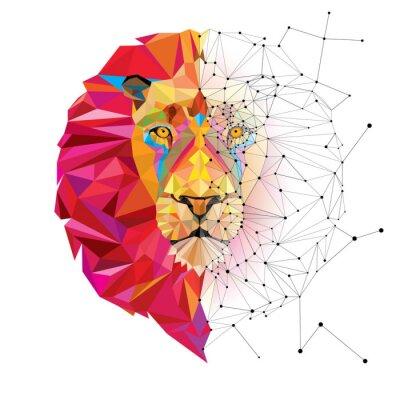 Naklejka Głowa lwa w geometryczny wzór z linii wektora gwiazda
