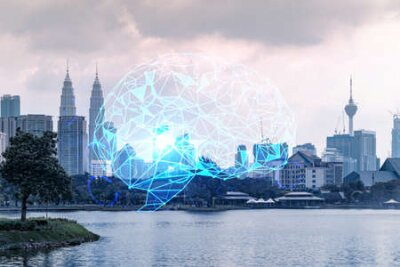 Naklejka Glowing human brain hologram, aerial panoramic cityscape of Kuala Lumpur at sunset. KL is the center of business education in Malaysia, Asia. Double exposure.