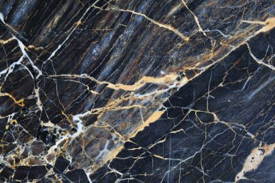 Naklejka Gold and cream color patterned natural of dark blue gray marble pattern background, abstract marble texture.