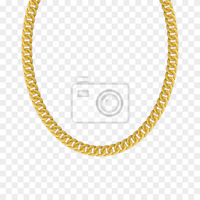 Naklejka Gold chain isolated. Vector necklace