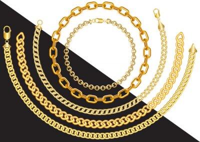 Naklejka Gold chains in different sizes