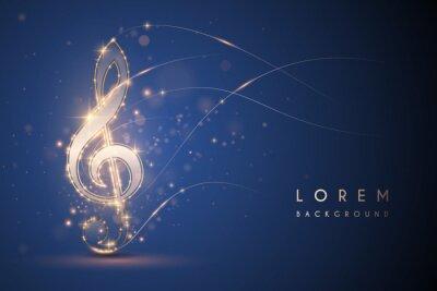 Naklejka Gold light music note on blue background