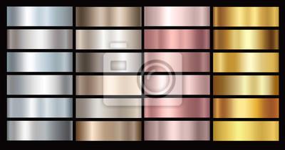 Naklejka Gold rose, silver, bronze and golden foil texture gradation background set. Vector shiny and metalic gradient collection for border, frame, ribbon, label design.