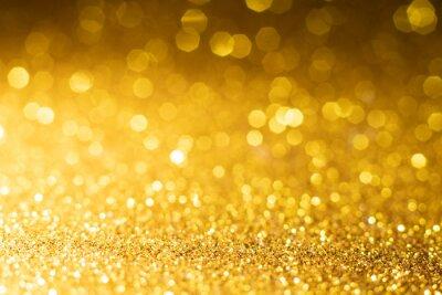 Naklejka gold sparkle glitter abstract bokeh background Christmas