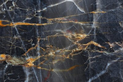 Naklejka Gold,yellow and white patterned of dark gray marble pattern (Gold Russia) for texture background and design product.