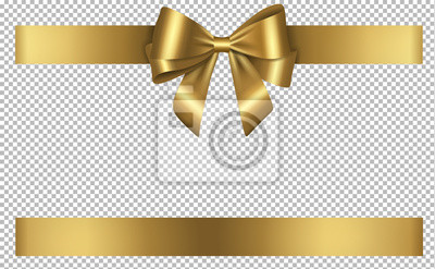 Naklejka golden bow and ribbon for birthday and christmas decorations