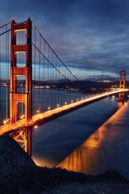 Naklejka Golden Gate Bridge w San Francisco, światła