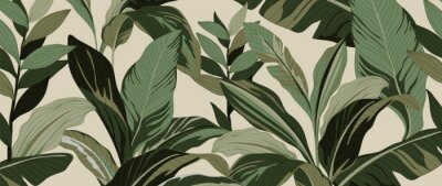 Naklejka Golden leaves line art background vector. luxury gold abstract wallpaper with earth tone and tidewater green color. Design for prints, Home decoration, fabric and cover design. vector illustration.