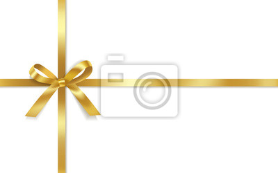 Naklejka Golden satin bows with horizontal and vertical ribbons isolated on white background. Vector holiday decoration.