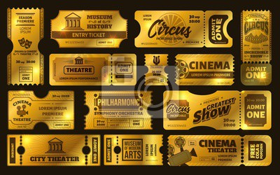 Golden tickets. Gold circus show ticket, premium cinema movie night coupon and theatre tickets vector set. Shiny vouchers, invitations. Limited tickets with tear off elements. Vip pass control