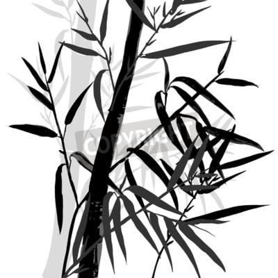Naklejka Góra bambusa. Tła liści bambusa. Ilustracji wektorowych