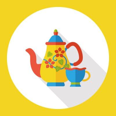 Naklejka gorąca herbata płaskim ikona
