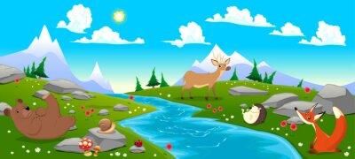 Naklejka Górski krajobraz z rzeki i zwierząt