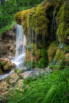 Naklejka Górski potok z wodospadami