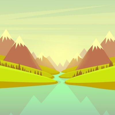 Naklejka Górskie rzeki wody krajobraz Forest Green Park Blue Sky