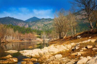 Naklejka Góry rzeka z lasu nad rzeką