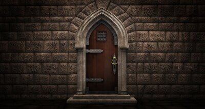 Naklejka Gothic door with lancet arch on a stone wall. 3D illustration
