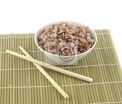 Naklejka Gotowany ryż w misce i chopstick