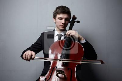 Naklejka gra na wiolonczeli zbliżenie