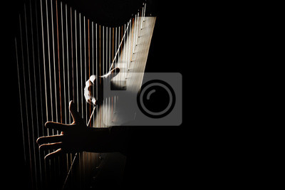 Naklejka Gracz na harfie. Ręce grające na irlandzkich strunach harfowych
